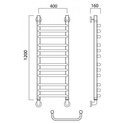 Водяной полотенцесушитель Роснерж Скоба L102010 120x40 групповой
