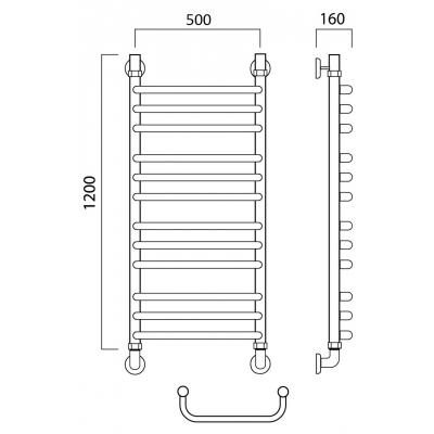 Водяной полотенцесушитель Роснерж Скоба L102010 120x50 групповой