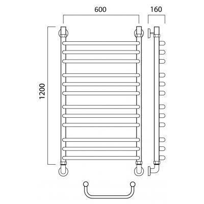 Водяной полотенцесушитель Роснерж Скоба L102010 120x60 групповой