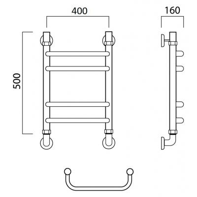 Водяной полотенцесушитель Роснерж Скоба L102010 50x40 групповой