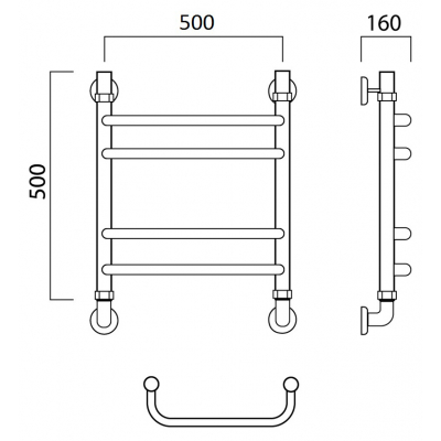 Водяной полотенцесушитель Роснерж Скоба L102010 50x50 групповой