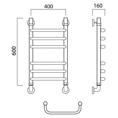 Водяной полотенцесушитель Роснерж Скоба L102010 60x40 групповой