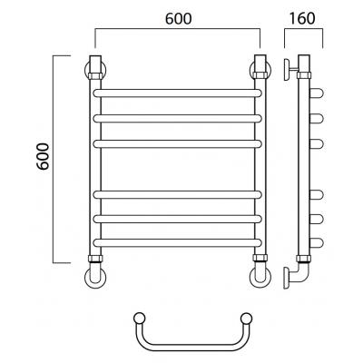 Водяной полотенцесушитель Роснерж Скоба L102010 60x60 групповой