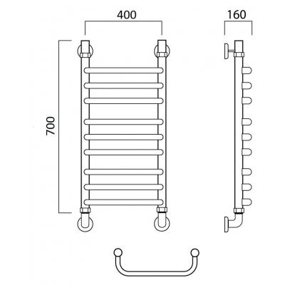 Водяной полотенцесушитель Роснерж Скоба L102010 70x40 групповой
