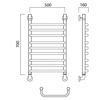 Водяной полотенцесушитель Роснерж Скоба L102010 70x50 групповой
