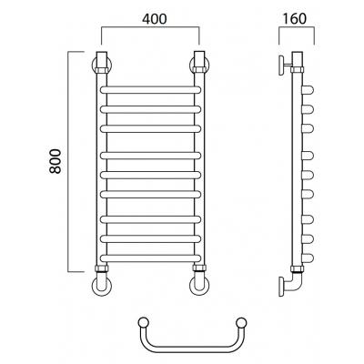 Водяной полотенцесушитель Роснерж Скоба L102010 80x40 групповой