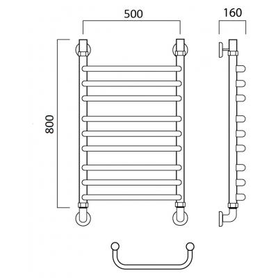 Водяной полотенцесушитель Роснерж Скоба L102010 80x50 групповой