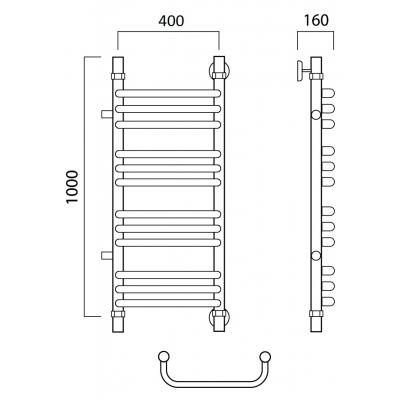 Водяной полотенцесушитель Роснерж Скоба L102011 100x40 с боковым подключением групповой