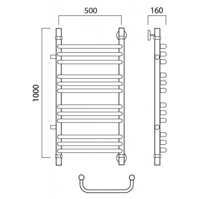 Водяной полотенцесушитель Роснерж Скоба L102011 100x50 с боковым подключением групповой