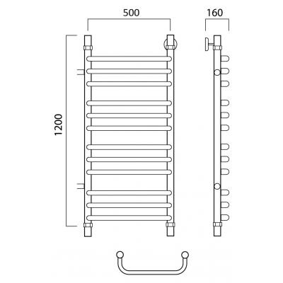 Водяной полотенцесушитель Роснерж Скоба L102011 120x50 с боковым подключением групповой