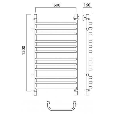 Водяной полотенцесушитель Роснерж Скоба L102011 120x60 с боковым подключением групповой