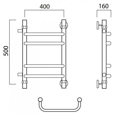 Водяной полотенцесушитель Роснерж Скоба L102011 50x40 с боковым подключением групповой