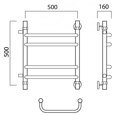 Водяной полотенцесушитель Роснерж Скоба L102011 50x50 с боковым подключением групповой