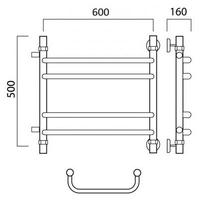 Водяной полотенцесушитель Роснерж Скоба L102011 50x60 с боковым подключением групповой