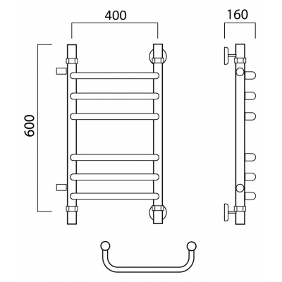 Водяной полотенцесушитель Роснерж Скоба L102011 60x40 с боковым подключением групповой
