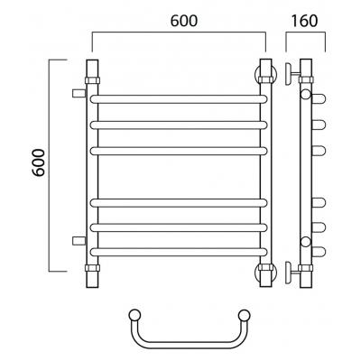 Водяной полотенцесушитель Роснерж Скоба L102011 60x60 с боковым подключением групповой