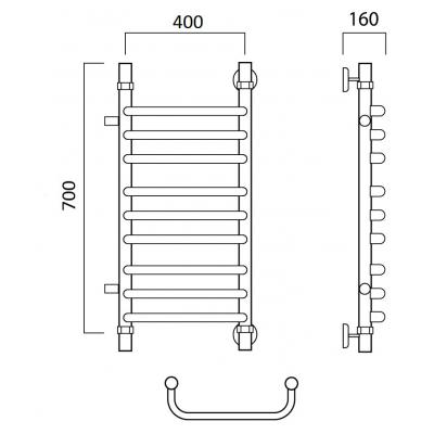 Водяной полотенцесушитель Роснерж Скоба L102011 70x40 с боковым подключением групповой