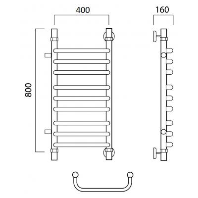 Водяной полотенцесушитель Роснерж Скоба L102011 80x40 с боковым подключением групповой