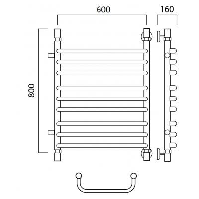 Водяной полотенцесушитель Роснерж Скоба L102011 80x60 с боковым подключением групповой