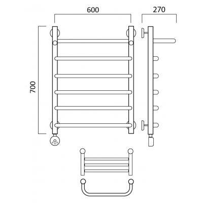 Электрический полотенцесушитель Роснерж Скоба L202100 70x60 с полкой