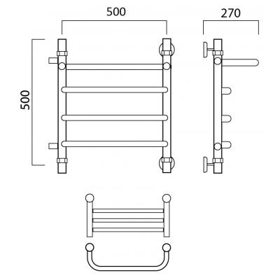 Водяной полотенцесушитель Роснерж Скоба L102101 50x50 с полкой и боковым подключением