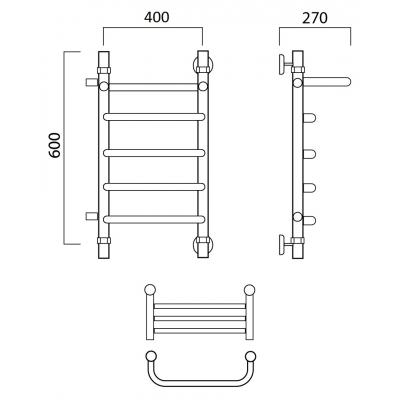 Водяной полотенцесушитель Роснерж Скоба L102101 60x40 с полкой и боковым подключением