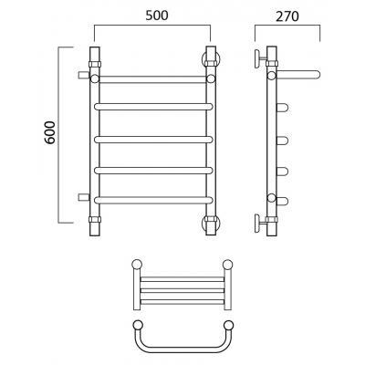 Водяной полотенцесушитель Роснерж Скоба L102101 60x50 с полкой и боковым подключением