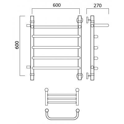 Водяной полотенцесушитель Роснерж Скоба L102101 60x60 с полкой и боковым подключением