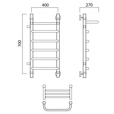 Водяной полотенцесушитель Роснерж Скоба L102101 70x40 с полкой и боковым подключением