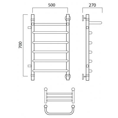 Водяной полотенцесушитель Роснерж Скоба L102101 70x50 с полкой и боковым подключением
