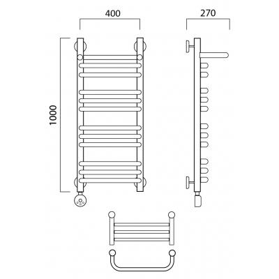 Электрический полотенцесушитель Роснерж Скоба L202110 100x40 с полкой групповой