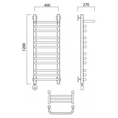 Электрический полотенцесушитель Роснерж Скоба L202110 120x40 с полкой групповой