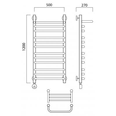 Электрический полотенцесушитель Роснерж Скоба L202110 120x50 с полкой групповой
