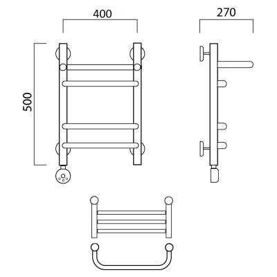 Электрический полотенцесушитель Роснерж Скоба L202110 50x40 с полкой групповой