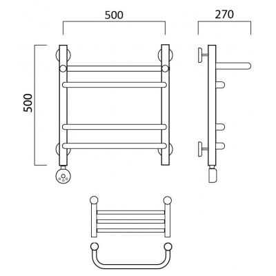 Электрический полотенцесушитель Роснерж Скоба L202110 50x50 с полкой групповой