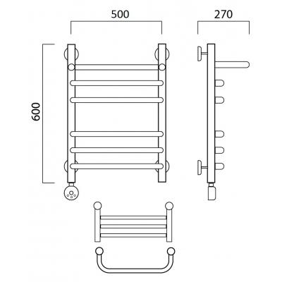 Электрический полотенцесушитель Роснерж Скоба L202110 60x50 с полкой групповой