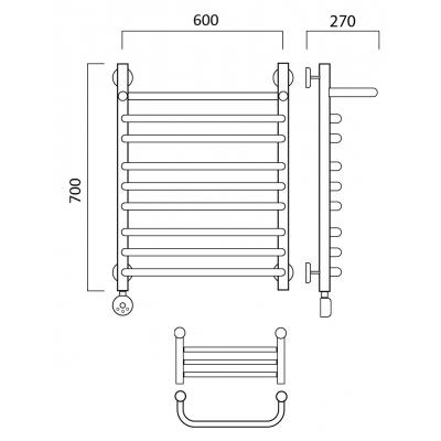 Электрический полотенцесушитель Роснерж Скоба L202110 70x60 с полкой групповой