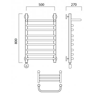 Электрический полотенцесушитель Роснерж Скоба L202110 80x50 с полкой групповой