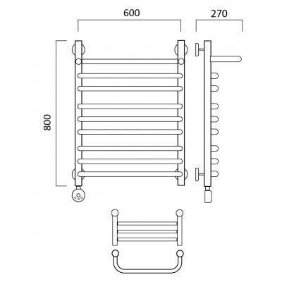 Электрический полотенцесушитель Роснерж Скоба L202110 80x60 с полкой групповой