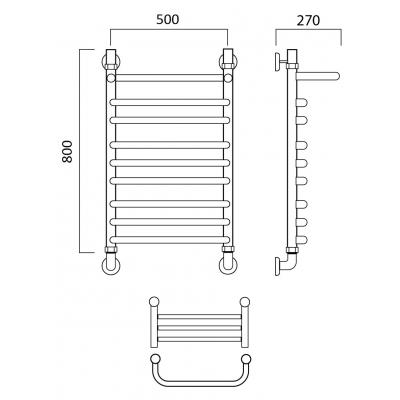 Водяной полотенцесушитель Роснерж Скоба L102110 80x50 с полкой групповой