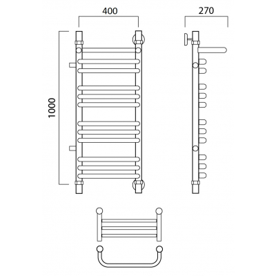 Водяной полотенцесушитель Роснерж Скоба L102111 100x40 с полкой и боковым подключением групповой