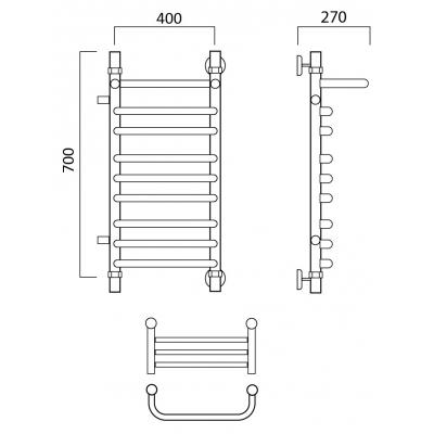 Водяной полотенцесушитель Роснерж Скоба L102111 70x40 с полкой и боковым подключением групповой