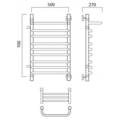 Водяной полотенцесушитель Роснерж Скоба L102111 70x50 с полкой и боковым подключением групповой
