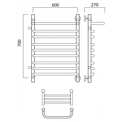 Водяной полотенцесушитель Роснерж Скоба L102111 70x60 с полкой и боковым подключением групповой