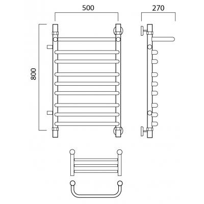 Водяной полотенцесушитель Роснерж Скоба L102111 80x50 с полкой и боковым подключением групповой