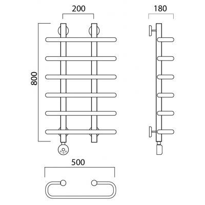 Электрический полотенцесушитель Роснерж Аврора L203000 80x50