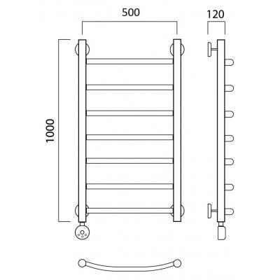 Электрический полотенцесушитель Роснерж Дуга L204000 100x50