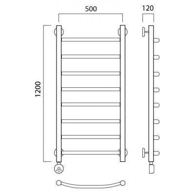 Электрический полотенцесушитель Роснерж Дуга L204000 120x50