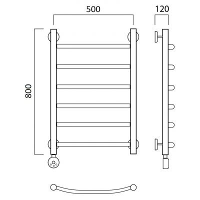 Электрический полотенцесушитель Роснерж Дуга L204000 80x50