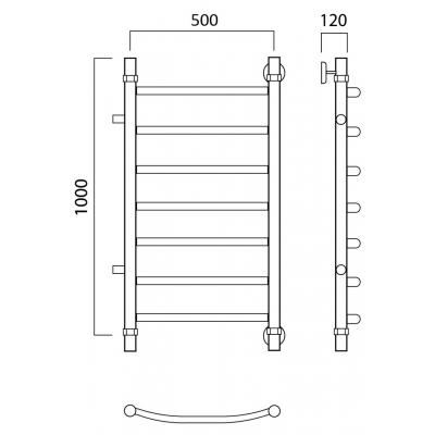 Водяной полотенцесушитель Роснерж Дуга L104001 100x50 с боковым подключением